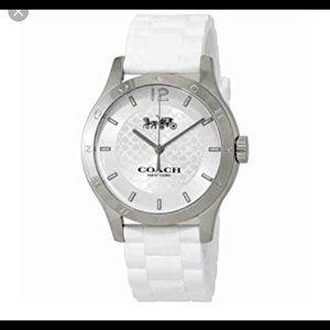 Coach white rubber strap watch